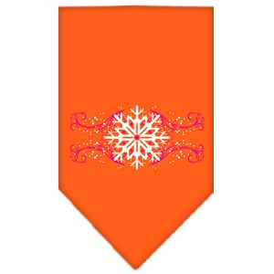 Pink Snowflake Swirls Screen Print Bandana Orange Large