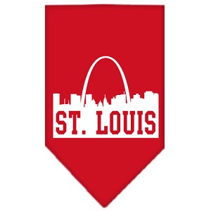 St Louis Skyline Screen Print Bandana Red Large