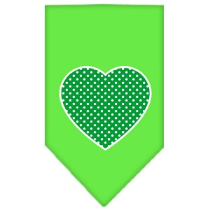 Green Swiss Dot Heart Screen Print Bandana Lime Green Large