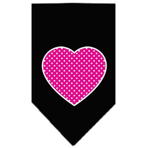 Pink Swiss Dot Heart Screen Print Bandana Black Small