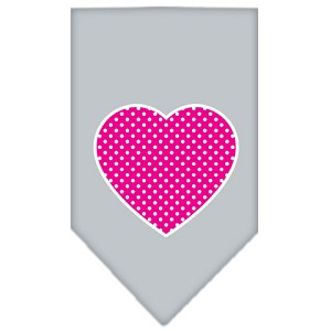Pink Swiss Dot Heart Screen Print Bandana Grey Large