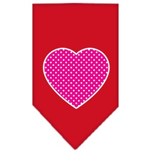 Pink Swiss Dot Heart Screen Print Bandana Red Large
