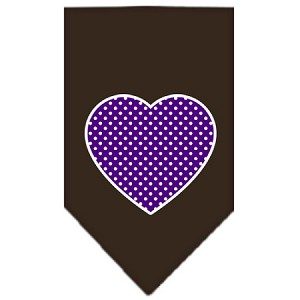 Purple Swiss Dot Heart Screen Print Bandana Cocoa Small