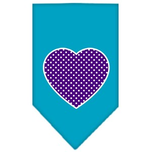 Purple Swiss Dot Heart Screen Print Bandana Turquoise Large