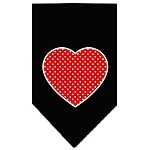 Red Swiss Dot Heart Screen Print Bandana Black Small