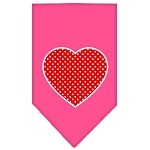 Red Swiss Dot Heart Screen Print Bandana Bright Pink Small