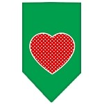 Red Swiss Dot Heart Screen Print Bandana Emerald Green Small