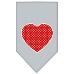 Red Swiss Dot Heart Screen Print Bandana Grey Small