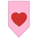 Red Swiss Dot Heart Screen Print Bandana Light Pink Small