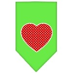 Red Swiss Dot Heart Screen Print Bandana Lime Green Small