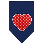 Red Swiss Dot Heart Screen Print Bandana Navy Blue Small