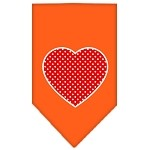 Red Swiss Dot Heart Screen Print Bandana Orange Small