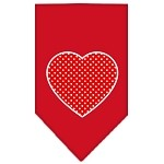 Red Swiss Dot Heart Screen Print Bandana Red Large