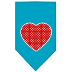 Red Swiss Dot Heart Screen Print Bandana Turquoise Small