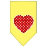 Red Swiss Dot Heart Screen Print Bandana Yellow Small