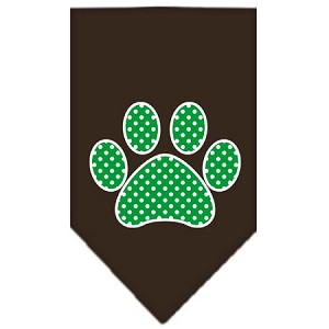 Green Swiss Dot Paw Screen Print Bandana Cocoa Small