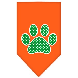 Green Swiss Dot Paw Screen Print Bandana Orange Large