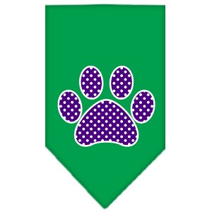 Purple Swiss Dot Paw Screen Print Bandana Emerald Green Large
