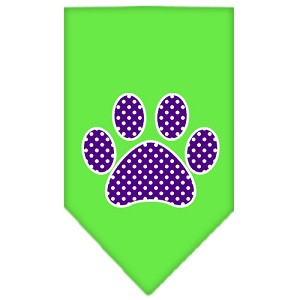 Purple Swiss Dot Paw Screen Print Bandana Lime Green Small