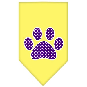 Purple Swiss Dot Paw Screen Print Bandana Yellow Small