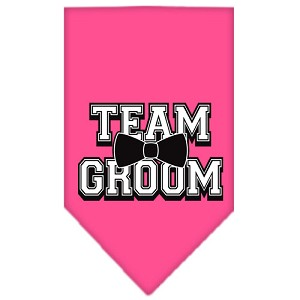 Team Groom Screen Print Bandana Bright Pink Small