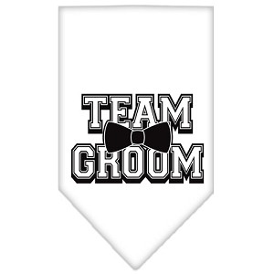 Team Groom Screen Print Bandana White Small