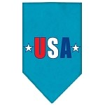 USA Star Screen Print Bandana Turquoise Small