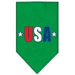 USA Star Screen Print Bandana Emerald Green Small