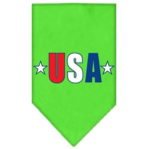 USA Star Screen Print Bandana Lime Green Large