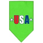 USA Star Screen Print Bandana Lime Green Small