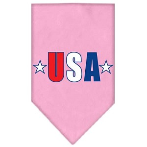 USA Star Screen Print Bandana Light Pink Small