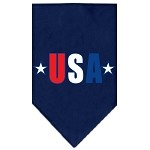USA Star Screen Print Bandana Navy Blue Small