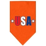USA Star Screen Print Bandana Orange Small
