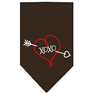 XOXO Screen Print Bandana Cocoa Large