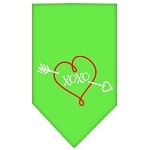 XOXO Screen Print Bandana Lime Green Small