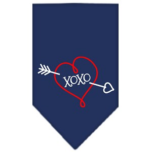 XOXO Screen Print Bandana Navy Blue Small