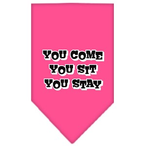 You Come, You Sit, You Stay Screen Print Bandana Bright Pink Small