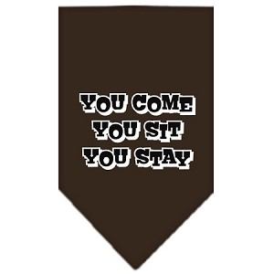 You Come, You Sit, You Stay Screen Print Bandana Cocoa Small