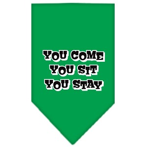 You Come, You Sit, You Stay Screen Print Bandana Emerald Green Large