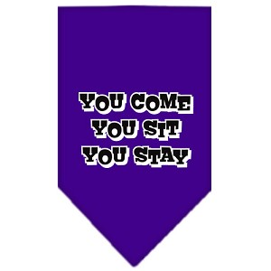You Come, You Sit, You Stay Screen Print Bandana Purple Small