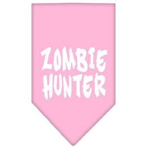 Zombie Hunter Screen Print Bandana Light Pink Small