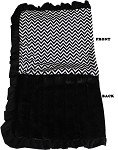 Luxurious Plush Pet Blanket Black Chevron 1/2 Size