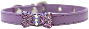 Bow-dacious Crystal Dog Collar Lavender Size 12