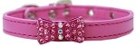 Bow-dacious Crystal Dog Collar Bright Pink Size 10