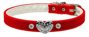 Clear Puffy Heart One Charm Dog Collar Red Velvet Size 14