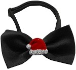 Santa Hat Chipper Black Pet Bow Tie