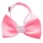 Light Pink Crystal Oval Bubblegum Pink Bow Tie