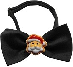 Santa Face Chipper Black Pet Bow Tie