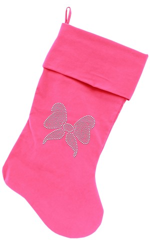 Clear Bow Rhinestone 18 inch Velvet Christmas Stocking Pink
