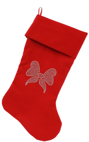 Clear Bow Rhinestone 18 inch Velvet Christmas Stocking Red